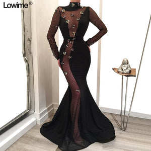 Illusion Long Sleeves Celebrity Dresses 2019 Red Carpet Dresses Mermaid High Neck  Backless vestido de festa With Flowers