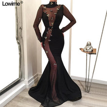 Load image into Gallery viewer, Illusion Long Sleeves Celebrity Dresses 2019 Red Carpet Dresses Mermaid High Neck  Backless vestido de festa With Flowers