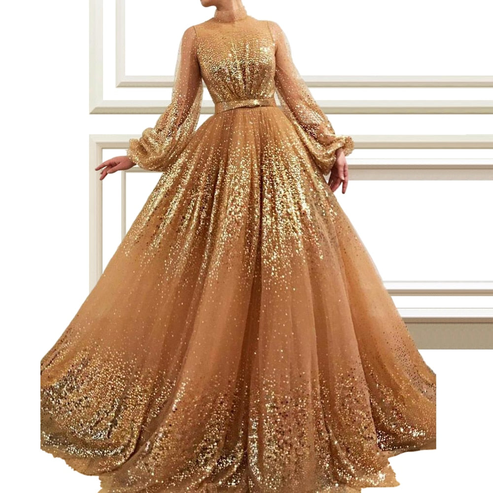 2019 Luxury Champagne Sequin Celebrity Dresses Long Sleeve High Neck Evening Runaway Red Carpet Gowns A-line Prom Party Dress