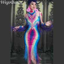 Load image into Gallery viewer, Colorful Rhinestones Fringes Perspective Dress Evening Celebrate Spandex Dresses Tassel Costume Dance Dress