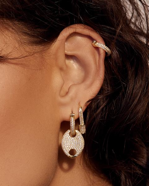 PAVE HEX SAFETY PIN EARRINGS- GOLD