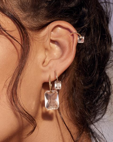 CRYSTALLINE HOOPS- GOLD