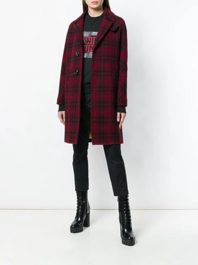 Dsquared2 Red and Check Bogart Coat