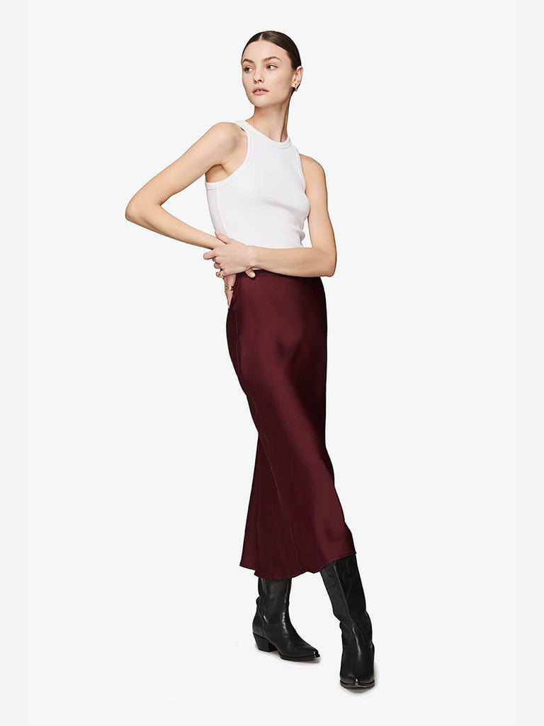 BAR SILK SKIRT - BURGUNDY - Season Seven NYC