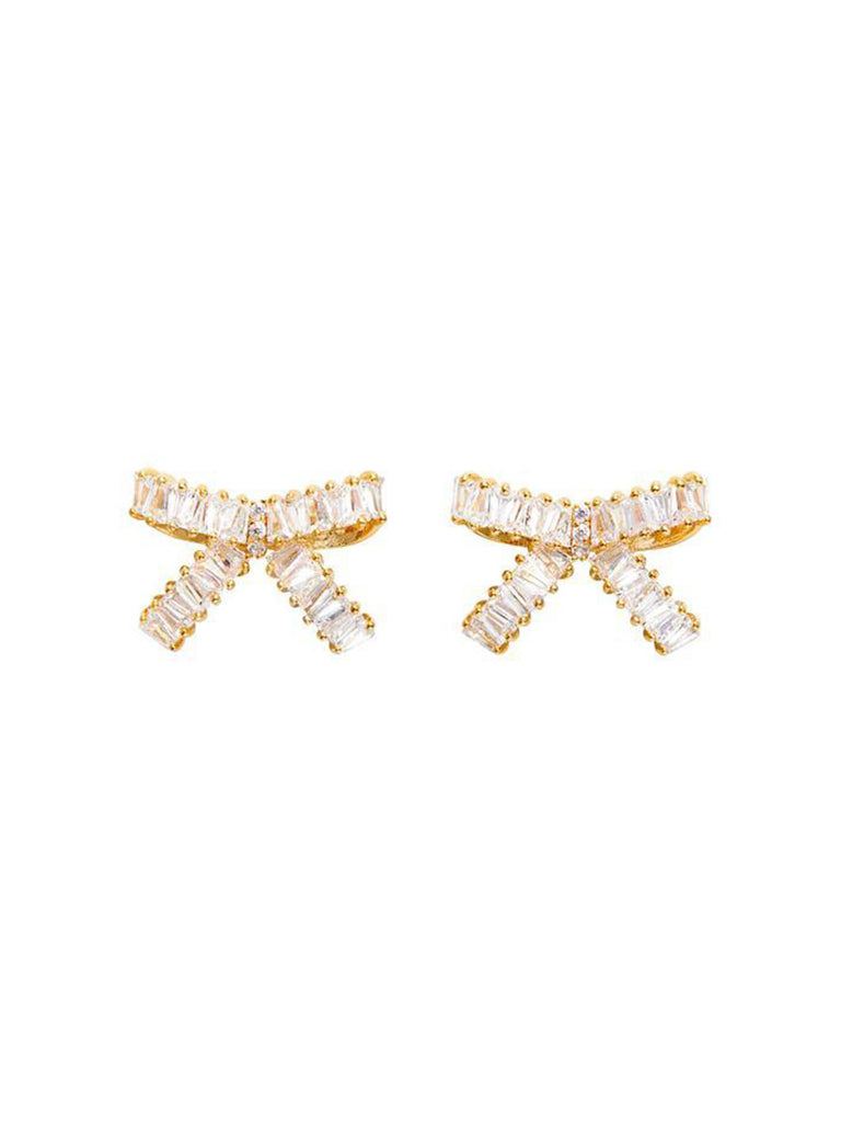 BOW BAGUETTE STUD EARRINGS - GOLD - Season Seven NYC