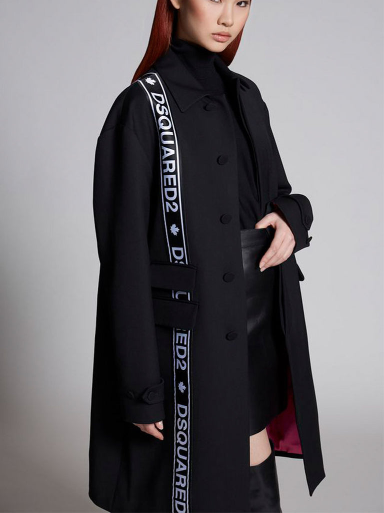 Oversize Logo Bands Wool Blend Cady Coat - Season Seven NYC
