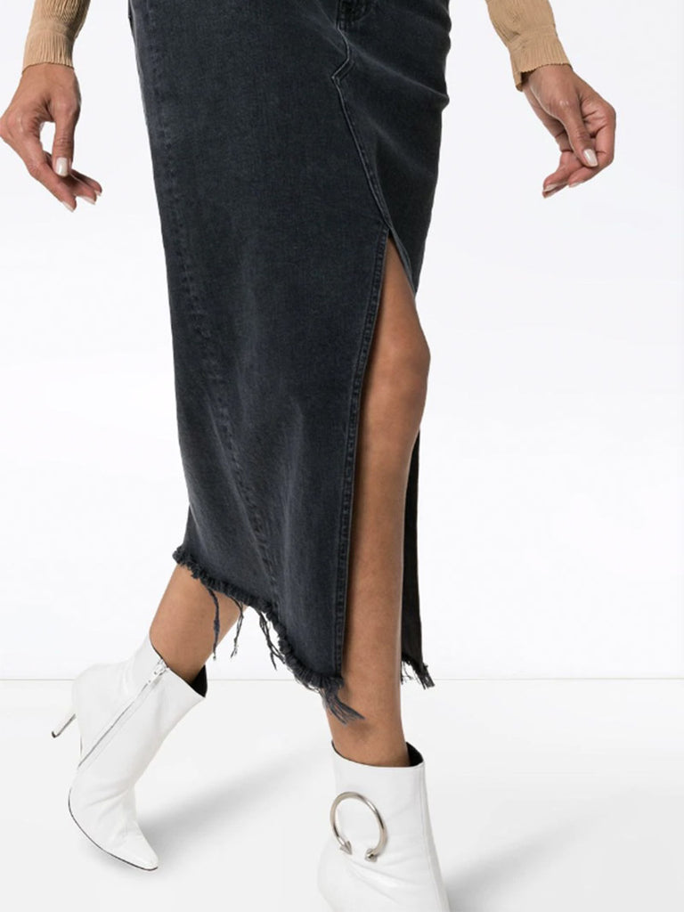 Elizabella front slit denim skirt - Season Seven NYC