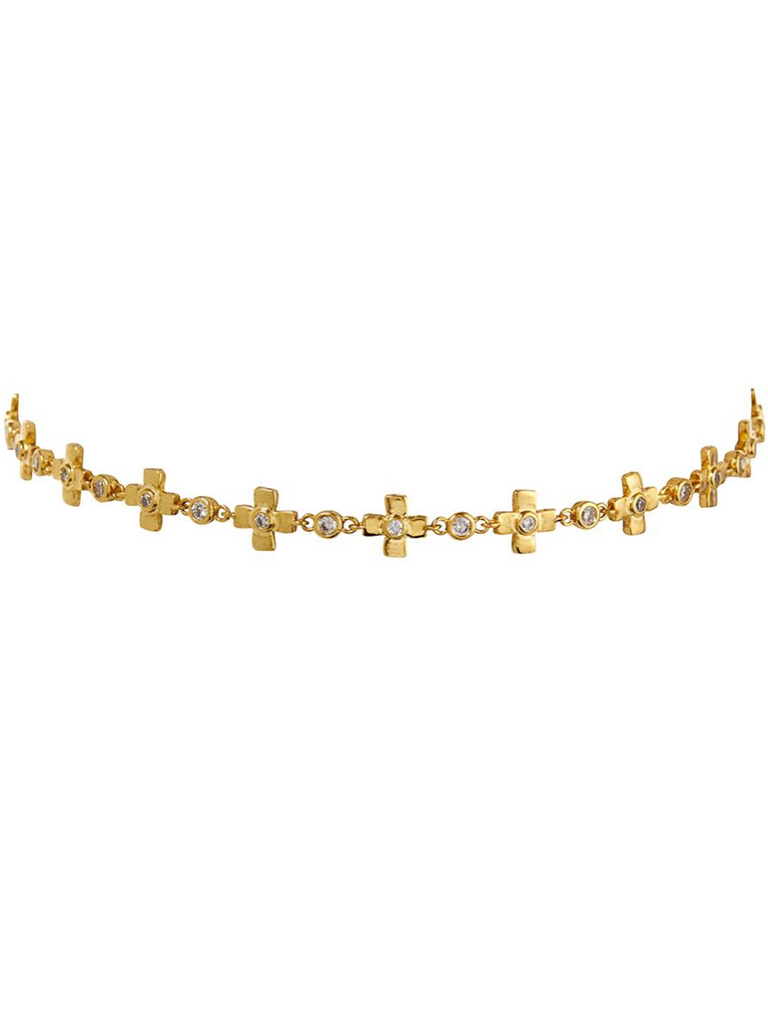 Gold cosmic cross charm choker - Season Seven NYC