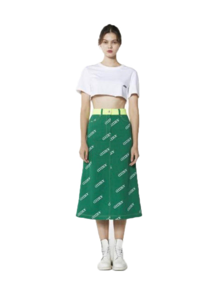 Logo Long Denim Skirt - Season Seven NYC