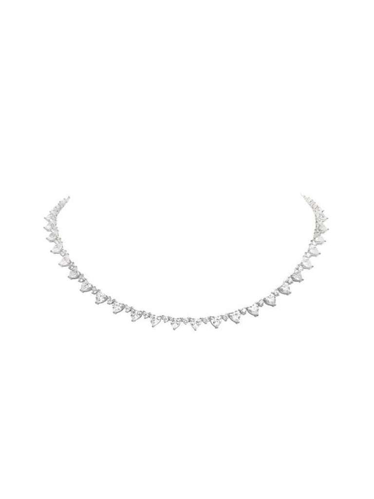 MICRO MINI HEART RIVIÈRE COLLAR NECKLACE - RHODIUM - Season Seven NYC