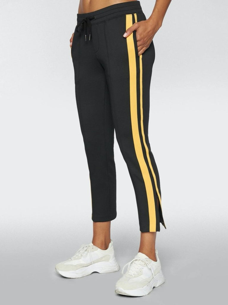 Pam & Gela Women's Cropped Track Pant With Sportstripes Black - Season Seven NYC