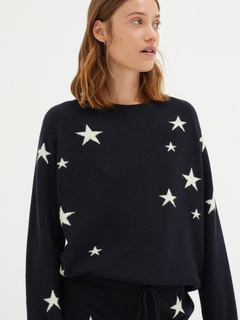 Navy Slouchy Star Cashmere Sweater - Season Seven NYC