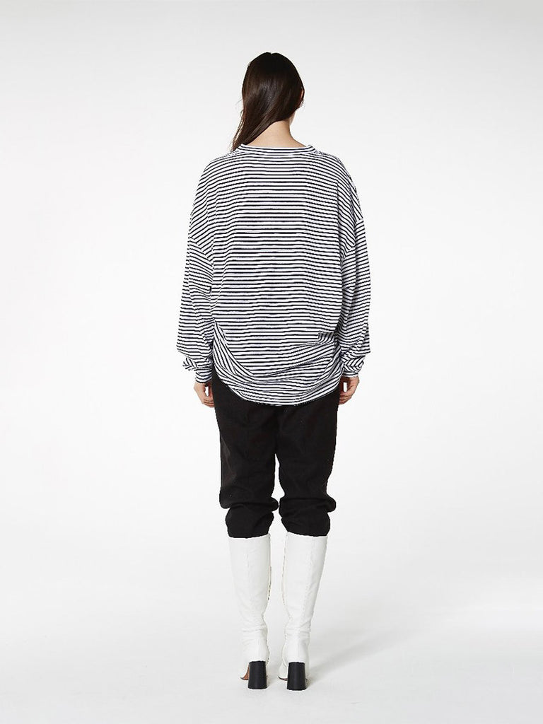 OVERSIZED L/SLV STRIPE TEE [ship immediately!]