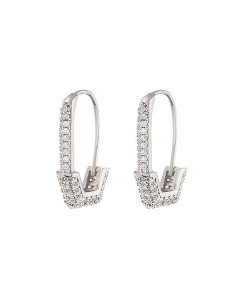 PAVE HEX SAFETY PIN EARRINGS- SILVER
