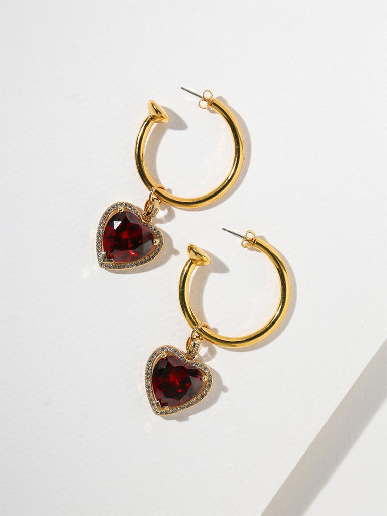 THE RUBY HEART HOOP EARRINGS - Season Seven NYC
