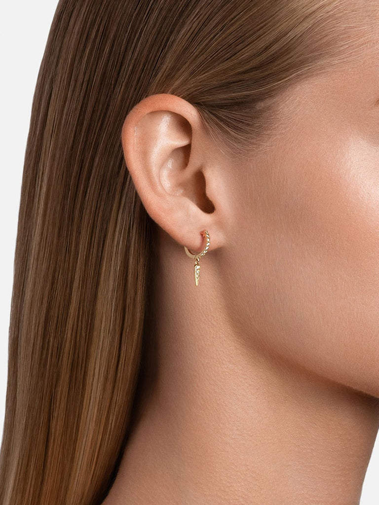 Talon Huggie Earrings, 14k Gold Pavé - Season Seven NYC