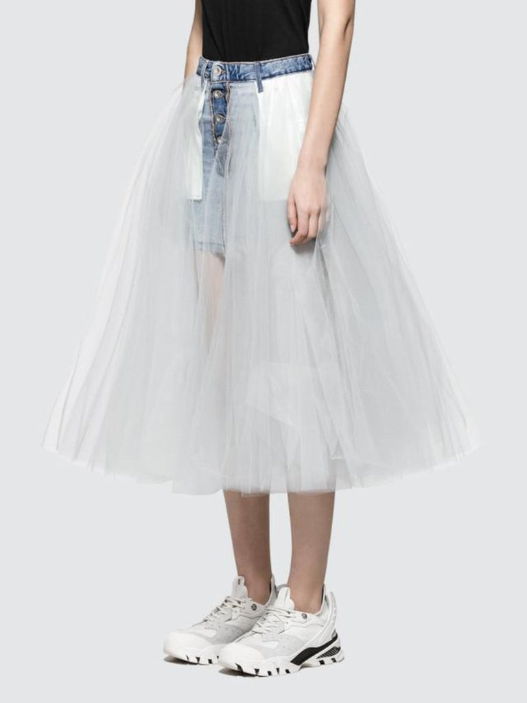 Denim tulle layered skirt - Season Seven NYC