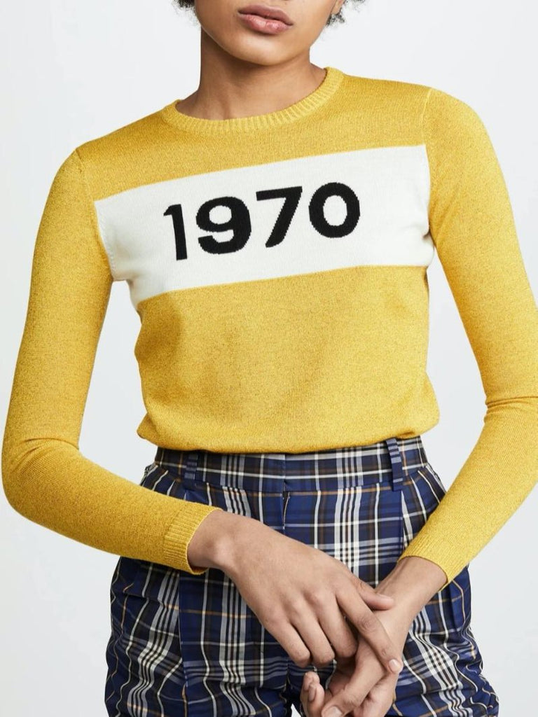 Bella Freud Critic Yellow Sparkle Jumper