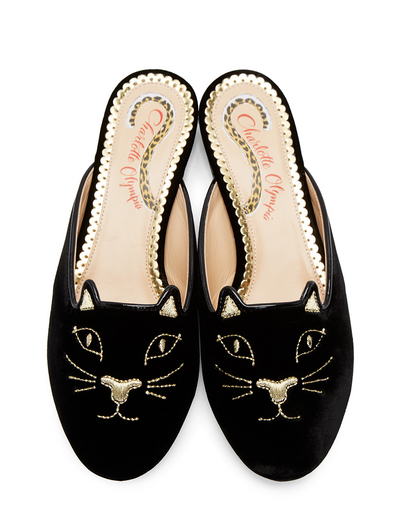 Black Velvet Kitty Slippers - Season Seven NYC