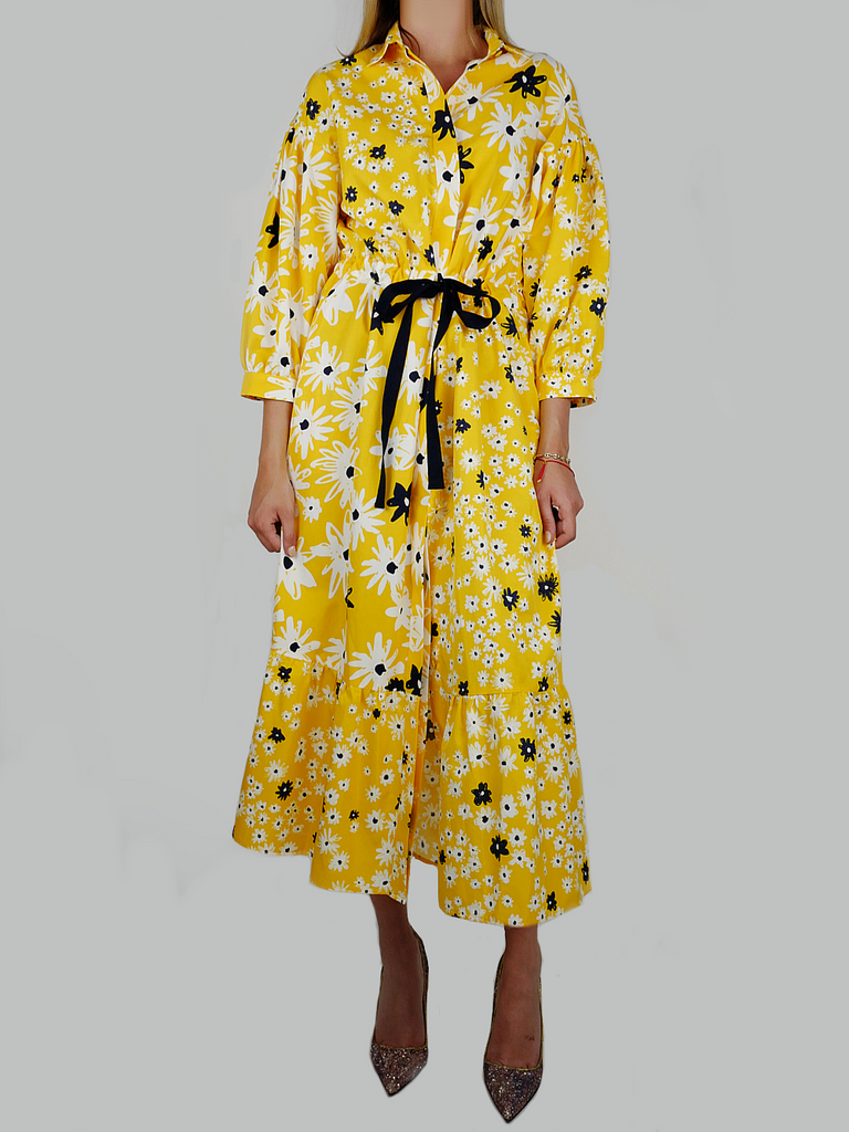 YELLOW COTTON & SILK FLORAL DRESS - Season Seven NYC