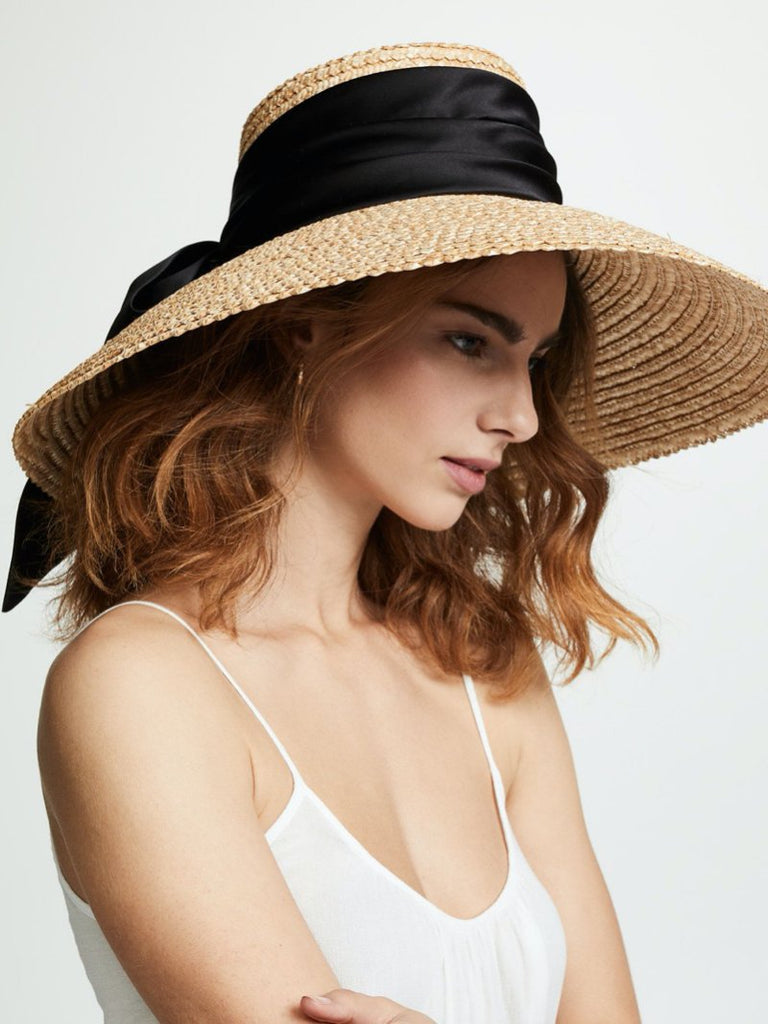 Mirabel satin-trimmed straw hat - Season Seven NYC