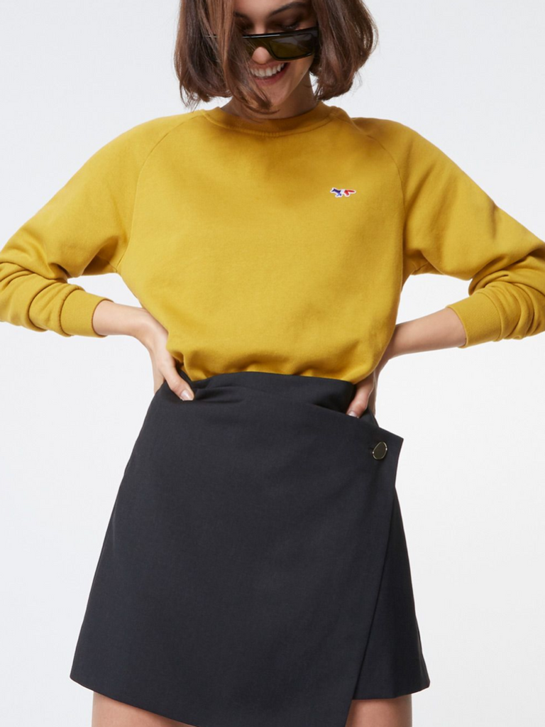 TRICOLOR FOX PATCH MUSTARD SWEATSHIRT - Season Seven NYC
