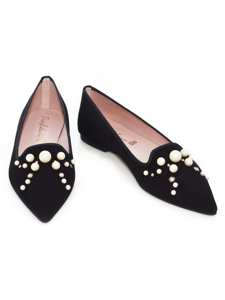 Ella Pearl and Swarovski Black Suede Flat - Season Seven NYC
