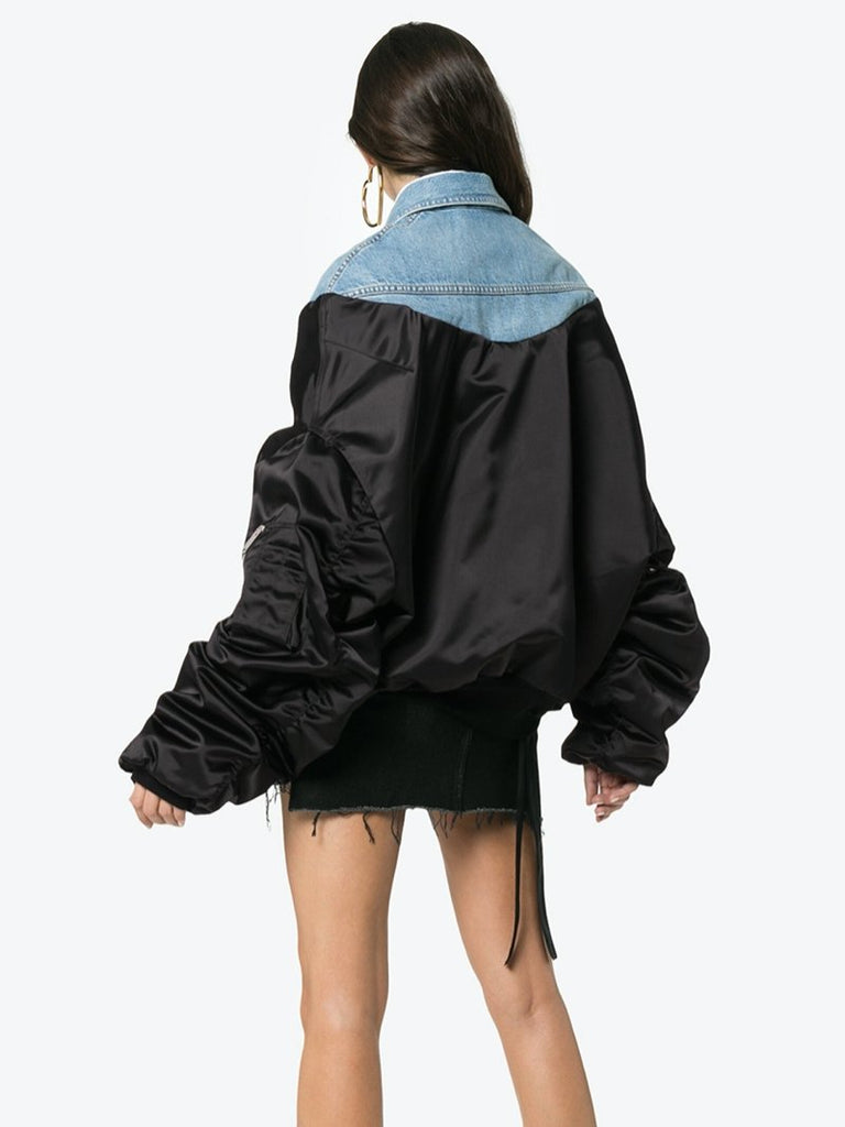 Unravel Project Denim Panelled Bomber Jacket - Season Seven NYC