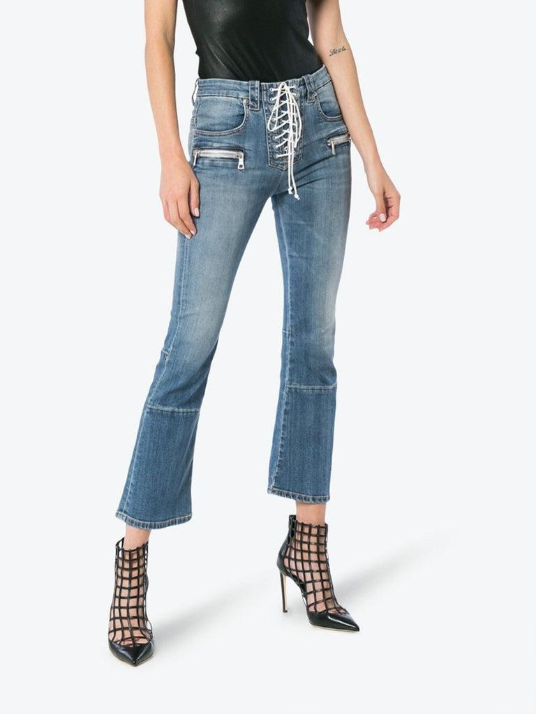 Mid Rise Lace-Up Cropped Kick Flare Jeans - Season Seven NYC