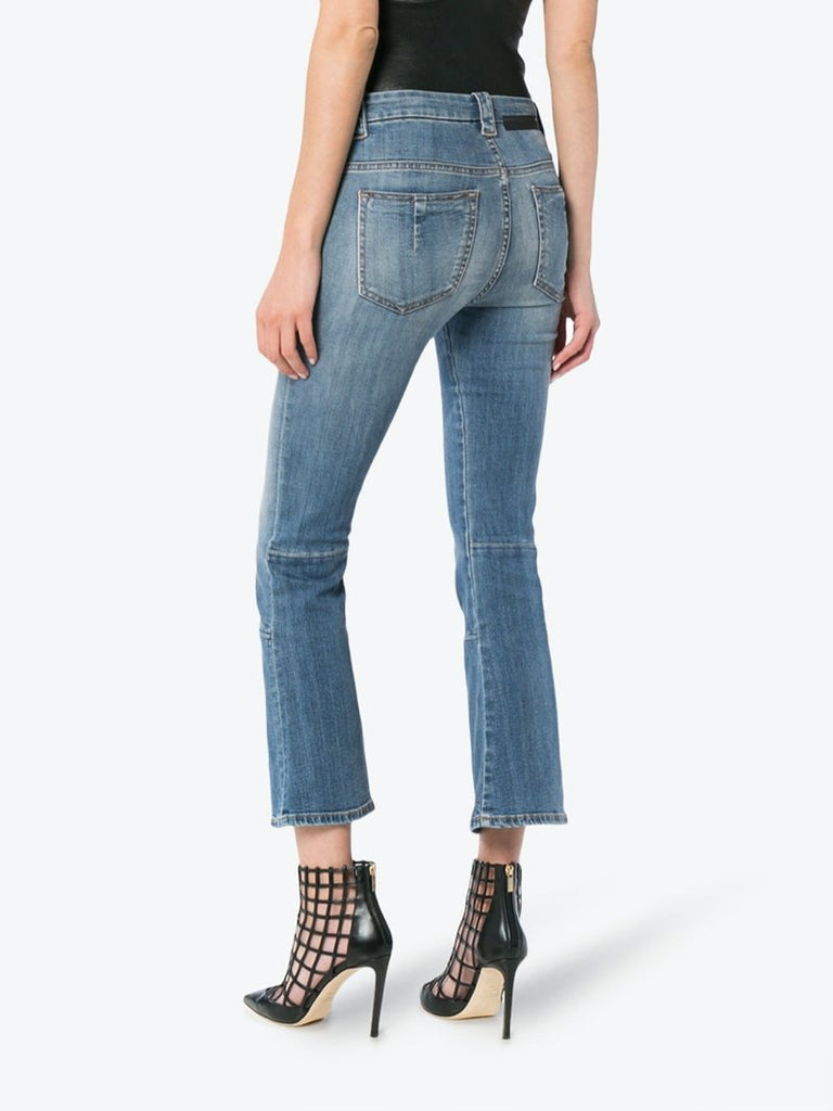 Unravel Project Mid Rise Lace-Up Cropped Kick Flare Jeans
