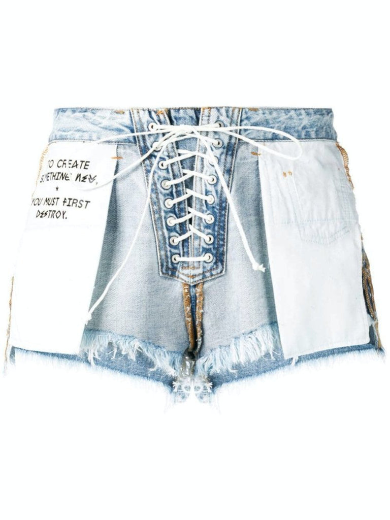 Blue Denim Reversed Lace-Up Shorts - Season Seven NYC