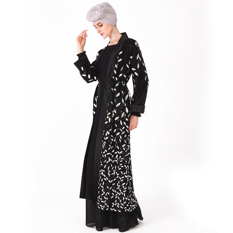 Islamic Aaliyah Sequin Leaf Embellished Mesh Abaya | Divasty