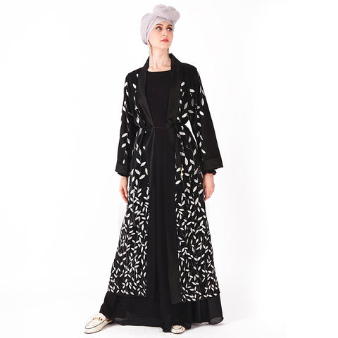 Black Aaliyah Sequin Leaf Embellished Mesh Abaya | Divasty