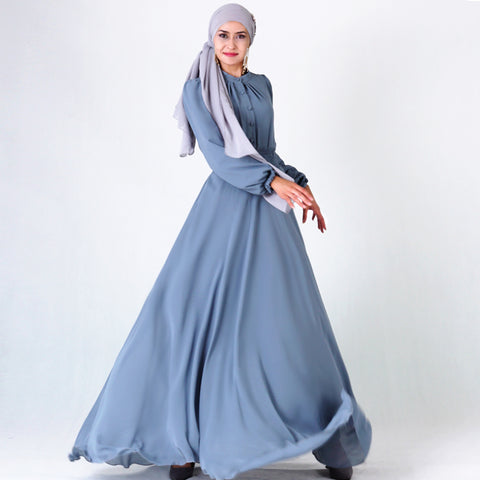 Flared Abaya with frilled sleeves