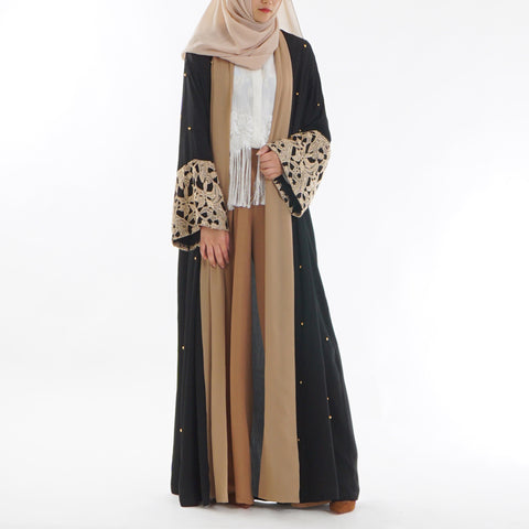 Golden Chiffon Open Abaya - Divasty