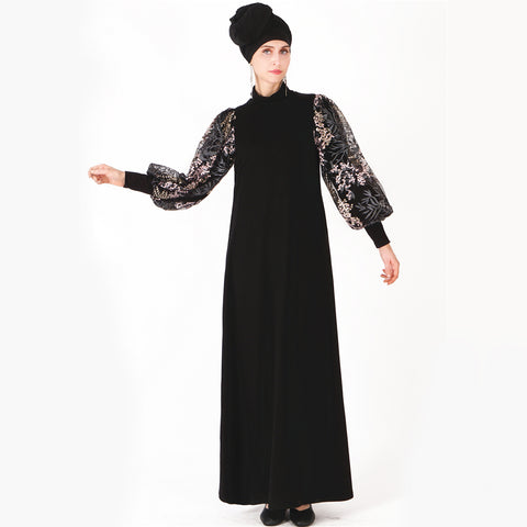 Samirah Embroidered Mesh Bell Sleeve Dress