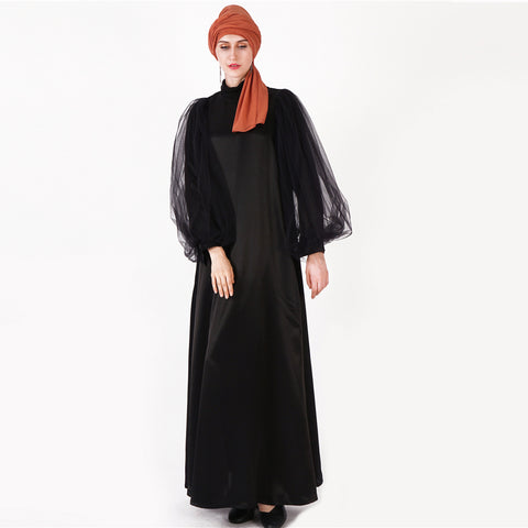 Zahirah Black Mesh Bell Sleeve Dress
