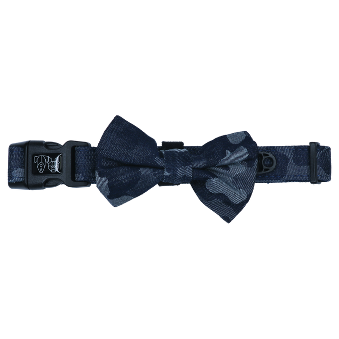 Denim Camo Collar and Bow Tie