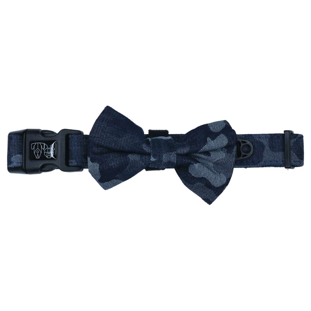 Denim Camp Collar and Bow Tie