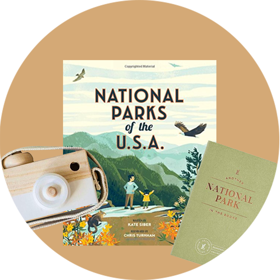 National Parks of the USA + Cute Wood Camera + National Park Passport Journal