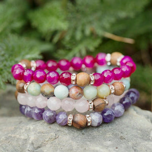 HorseFeathers Jewelry & Gifts LLC - Pink Agate- The Little Things Gemstone & Olive Wood Bracelet