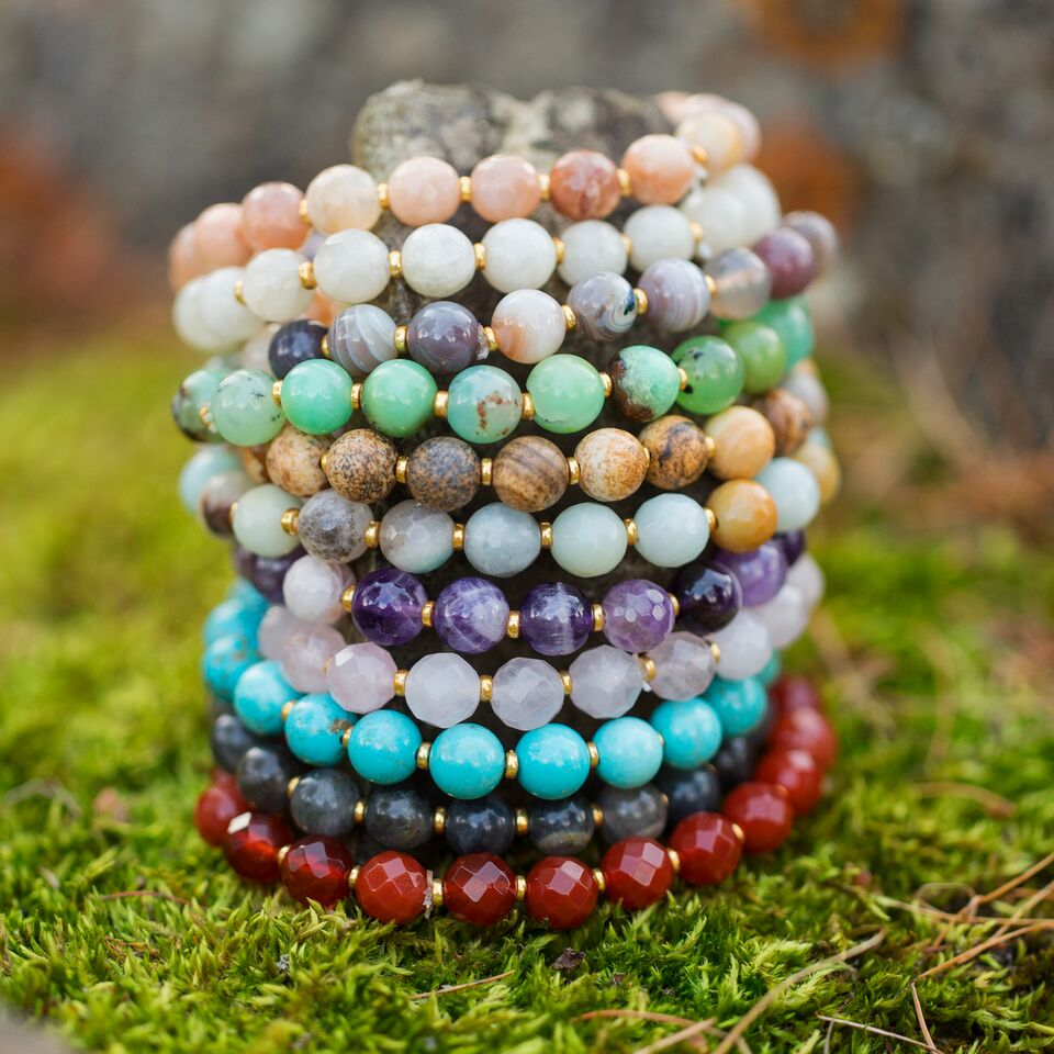 HorseFeathers Jewelry & Gifts LLC - Candy Jade - Skipping Stones Gemstone Layering Bracelet