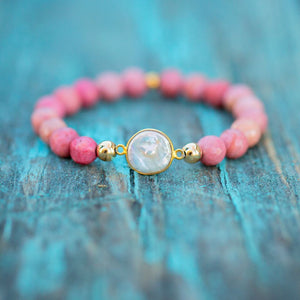 HorseFeathers Jewelry & Gifts LLC - Love Yourself - Rhodonite & Pearl Bracelet