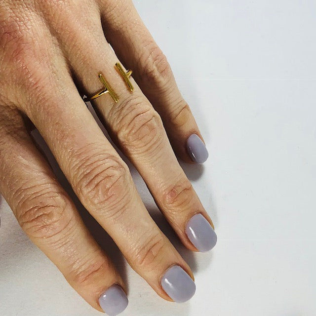 Sarah Belle - Gold Double Bar Minimalist Ring