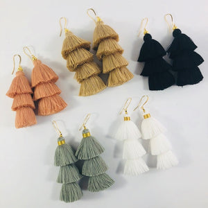 Sarah Belle - Black Tiered Tassel Earrings