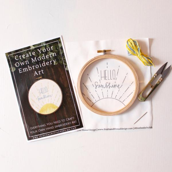 Hello Sunshine Do it Yourself Embroidery Kit