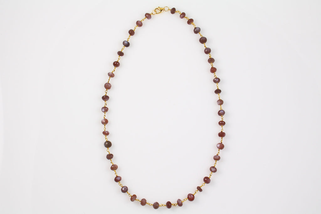 Brown Moonstone Chain Necklace