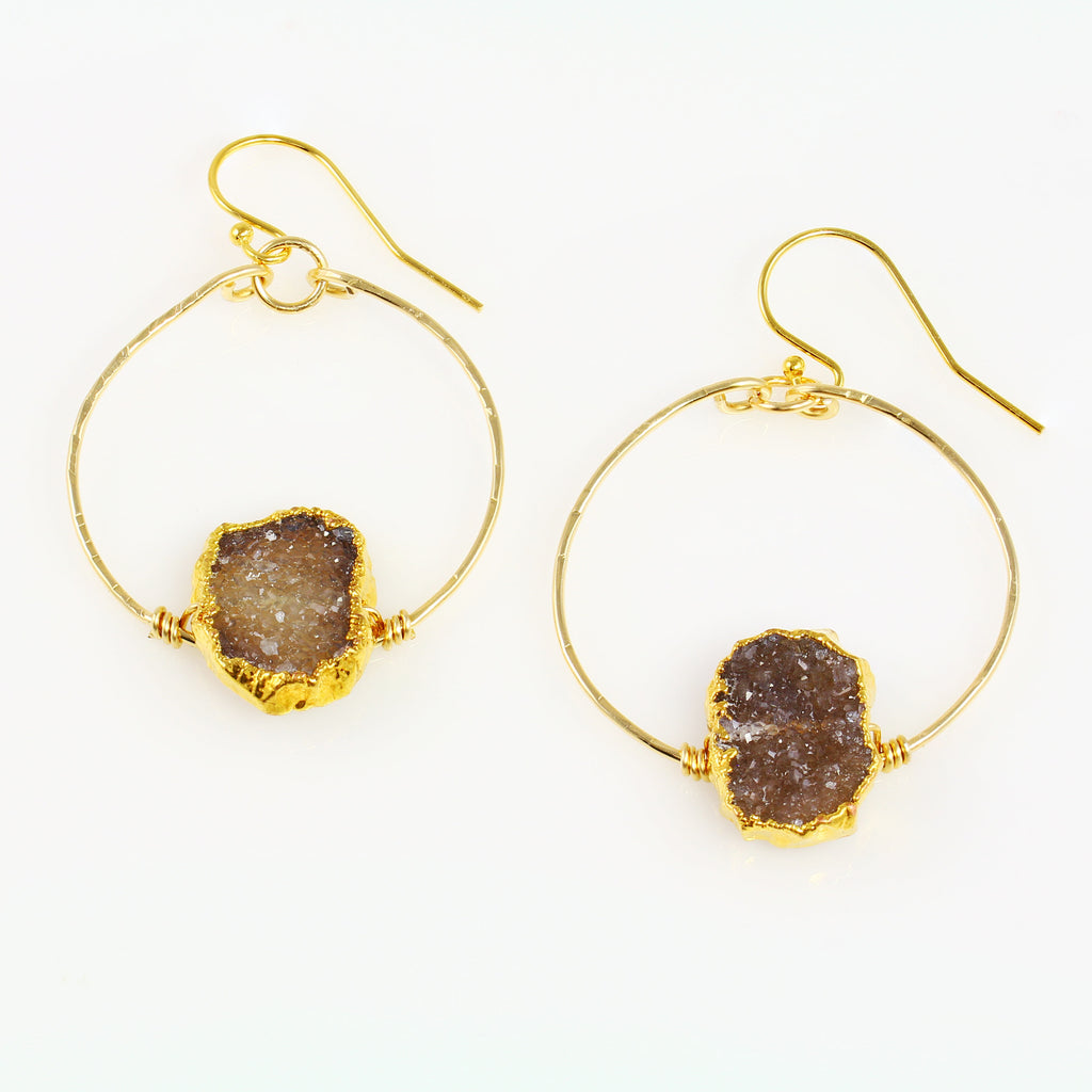 Chocolate Druzy Hoop Earrings