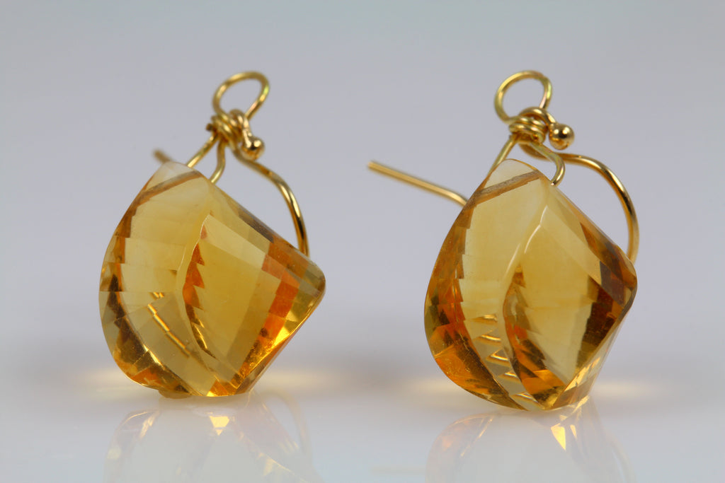 Citrine Spiral Drop Earrings