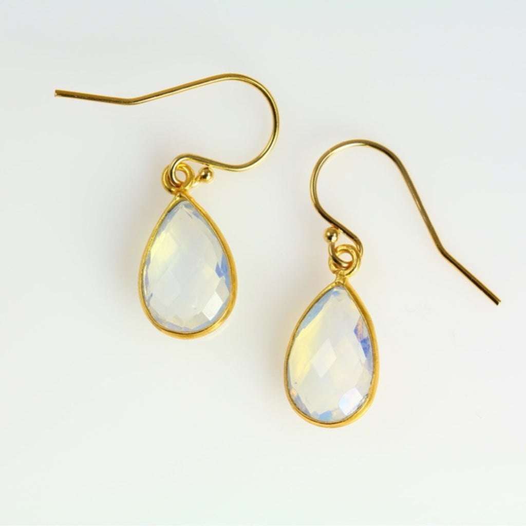 Fire Opal Teardrop Earrings